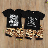 Boys Fashion Summer Clothes Letter Print Short Sleeve Round Neck T-shirt + Camouflage Shorts Outfits 2Pcs Sets for Kids Boys