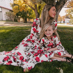 Mother Daughter Dress Long-Sleeved Mommy And Me Printing Kids Dresses For Girls Family Matching Clothes Family Look Outfits
