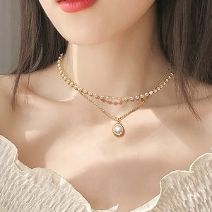 Cute Double Layers Gold Color Fashion Choker For Women Girl Imitation Pearl Pendant Simple Necklace Chocker Collar Collier Femme