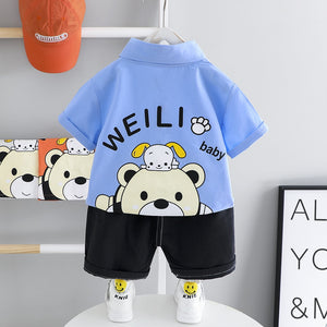 summer thin baby bear boy and girl baby boy suit sports cotton short-sleeved shorts two-piece children's clothing