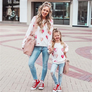 Family Matching Pullover Female Heart/Letter Print Round Neck Long Sleeve Blouse for Adults Kids