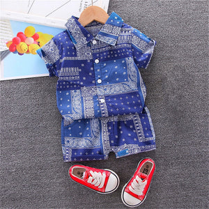 New Kids Baby Boys Clothes Sets Children Short Sleeve Lapel Shirts + Shorts Outfits Chic Print Casual Boys Clothing 0-6Y