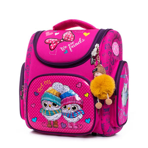 3D Orthopedic Schoolbag Backpacks Satchel Girls Cartoon Owls Kids Satchel Children School Bags Knapsack Mochila Escolar