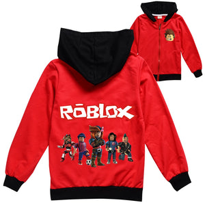 Roblox Hoodie Coat Boy Clothes Girls Hooded Jacket Coats Sweatshirts Kids Zipper (Red)