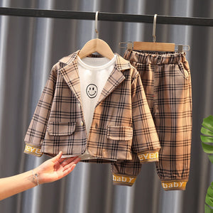 Spring/Autumn Baby Boys Sets Long-Sleeved Plaid Jacket Tshirt and Pant