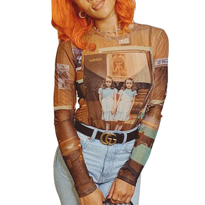 Women Sheer Mesh T-Shirts Young Ladies Slim Long Sleeve O Neck See-Through Painting Print Sexy See through Club Tops