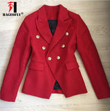 HAGEOFLY High Quality New Red Blazer Long Sleeve Coats Double Breasted Gold Buttons Blazers Women