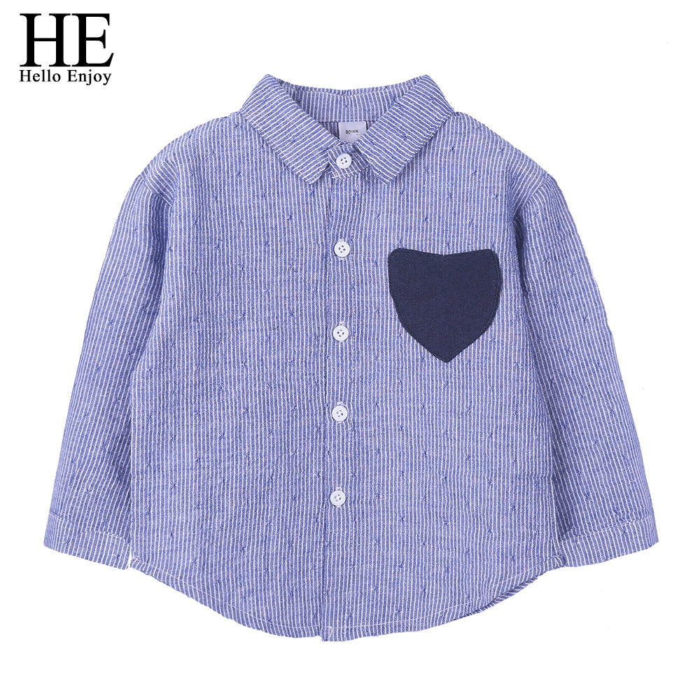 HE Hello Enjoy Family Matching Clothes Big-Sister-Little-Brother Shirts Long Sleeve Stripe Love Pocket Dress Family Look Outfit - thefashionique