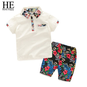 HE Hello Enjoy Kids Boys Clothes Boy Summer Clothing Sets  Short Sleeves Print Tops Shirt+Flower Shorts Suits Children Clothing - thefashionique