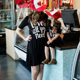 HE Hello Enjoy Mother Daughter Dresses Family Matching Clothes Black Print Letter Love Dress Mommy And Me Outfits Girls 2018 - thefashionique
