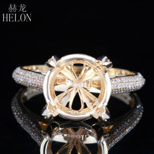 HELON 10-11mm Round Cut Real 14K Yellow Gold 0.42ct Diamond Wedding Engagement Semi Mount Setting Ring Women Trendy Jewelry Gift