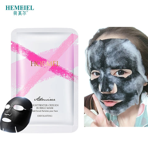 HEMEIEL Detox Oxygen Bubble Sheet Mask Korean Cosmetic Moisturizing Bamboo Charcoal Black Face Mask Foam Cleaning Pore Skin Care