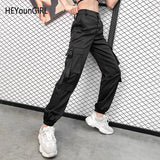 HEYounGIRL Hip Hop Black High Waist Pants Capris Streetwear Harajuku Cargo Pants Women Casual Sweatpants Pockets with Straps - thefashionique