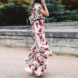 HIGH QUALITY New Fashion 2018 Designer Runway Dress Women's One-shoulder Floral Cascading Ruffle Long Dress - thefashionique