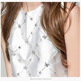 HIGH QUALITY New Fashion 2018 Designer Top Women's Sleeveless Diamonds Beading Tank Top Vest - thefashionique