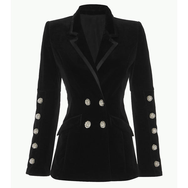 HIGH QUALITY New Fashion 2019 Designer Blazer Women's Strass Diamonds Buttons Velvet Blazer Coat - thefashionique