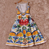 HIGH QUALITY Newest 2017 Designer Runway Dress Women's Sleeveless Retro Floral Printed Cotton Jacquard Backless Mid-calf Dress - thefashionique