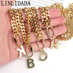 HOT 6Pcs letters pendants necklace metal 26 alphabet link chain jewelry accessories pendants fashion jewelry for women Men