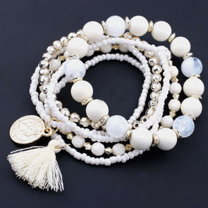 HOT Brand fishion Women girl Multilayer Beads Bangle Multiple colors Tassels Bracelets bangles 25#201809123010 - thefashionique