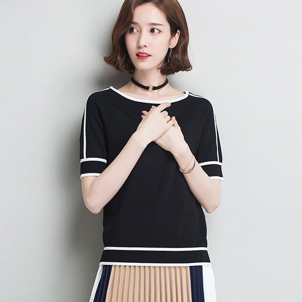 HSPL Summer Women  Pullover White Tops Short Sleeve Casual New Arrival 2018 Korea Lady Pull Femme Hiver Black Knitwear - thefashionique
