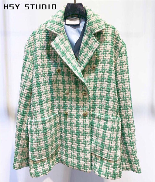【HSY Studio】2019 autumn new trend women two button check women blazer - thefashionique