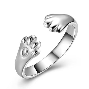 New Arrival Animal Cat Paw Plata color Open Rings for Women/Men simple design crown gold color party rings JZ87