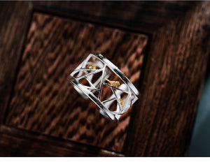 Real 925 Sterling Silver Open Ring Fine Jewelry Oriental Element Window Decoration Paper-cut Design Rings For Women