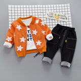 HYLKIDHHUOSE Autumn Baby Girls Boys Clothing Sets Infant Clothes Suits Star Coats T Shirt Pants Casual Kid Child Clothes Suits - thefashionique