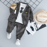 HYLKIDHUOSE Baby Boy Clothing Sets Male Children Clothes Suits Kid Gentleman Style Coats T Shirt Pants Grid Infant Clothes - thefashionique