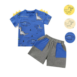 Fashion Toddler Boys Summer Clothing Set Two Piece Set Children's Short Sleeve Dinosaur Printed T-shirt Shorts