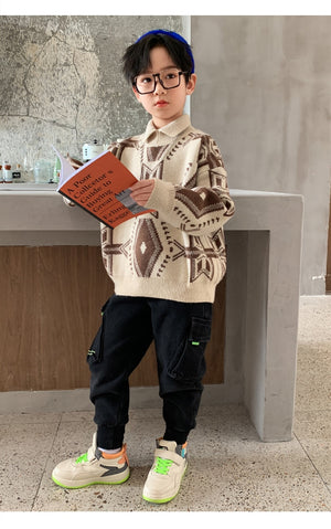 British Children's Clothing Boys Sweaters Diamond plaid pullover Turtleneck Coat Spring