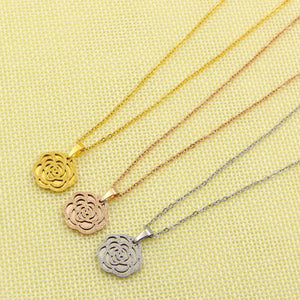 Famous Brand Stainless Steel Rose Gold Color Hollow Camellia Flower Pendant Necklace Sweater Chain For Women Gift
