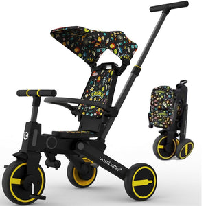 Uonibaby 7 Into 1 Compact Folding Tricycle For Kids Baby Pedal Trike Stroller Toddler Portable Travel Pushchair Trolley