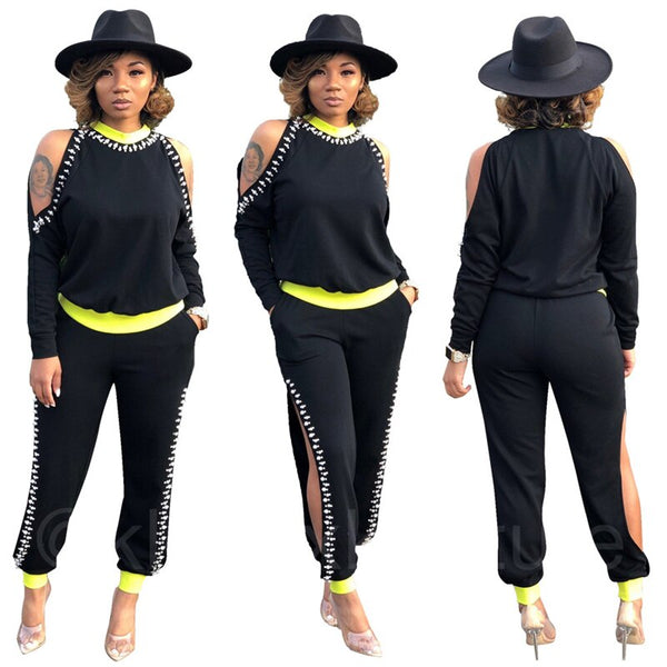 Two Piece Set Women Off Shoulder Long Sleeve Tops and Pants Hollow Out Side Stripe Pearls Tracksuit Set Wholesale Dropshipping