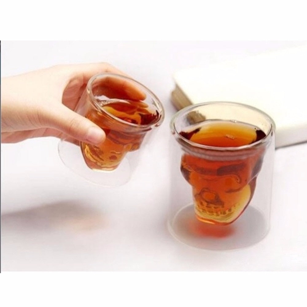 Halloween Skull Double Transparent Glass Beer Cup For the Home Bar Beer Water and Party Hotel Wedding Glasses Gift Drinkware - thefashionique