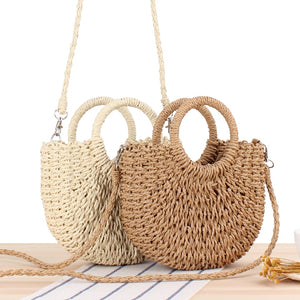 Hand-woven Semicircular Women's small Shoulder Bag Handbag  Weave Summer Beach Bags Female Crossbody Messenger Bag Tote - thefashionique