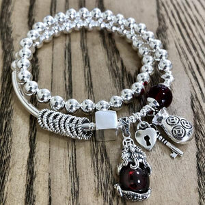 Handmade 925 Silver Fengshui Wealth Pixiu Beads Bracelet Sterling Beads Good Luck Bracelet Silver Beads Wrap Bracelet