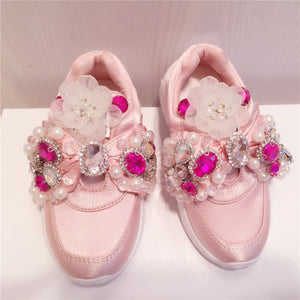 Handmade Rhinestone Girls Shoes  Diamond Sequins Beaded Silk Casual Shoes Bow Ribbon Childrens Shoes