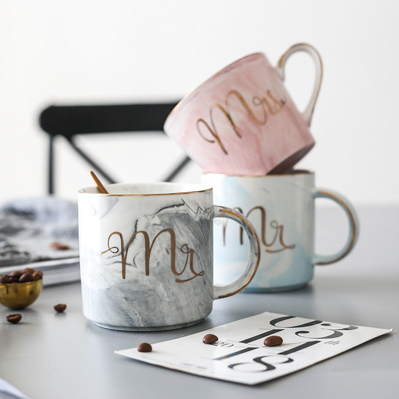 Handpainted Gold Monogram Natural Marble Porcelain Coffee Mug Mr and Mrs Tea Milk Cups and Mugs Creative Wedding Gift - thefashionique