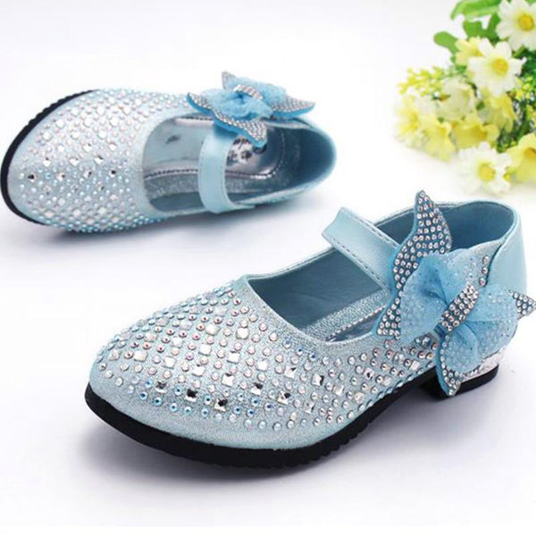 HaoChengJiaDe Fashion Sparkling Children Girls Wedding Shoes 2018 Girls Princess Shoes Korean Bow hot Small High-heeled Shoes 96 - thefashionique