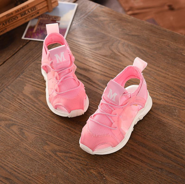 HaoChengJiaDe Summer Boy Sandals Soft Bottom Hook & Loop Children's Beach Shoes Super Light Girls Beach Sandals Baby Flat Shoes - thefashionique