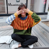Harajuku 2017 Korean New Winter Sweaters Stripes Hit Color Loose Bat Head Women Sweater Cuff Drop Ship - thefashionique