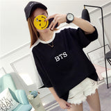 Harajuku Fashion Bts Kpop Tshirt Women Cotton T Shirt Elegant Korean Style Ladies Shirts Plus Size Summer Tops Camiseta Feminina - thefashionique