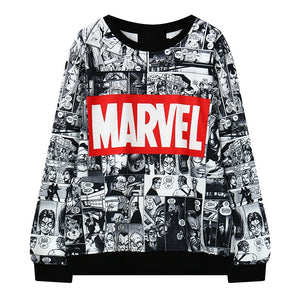 Harajuku Fashion Marvel Comics Pattern Print Women Hoodies Vintage Cotton Loose