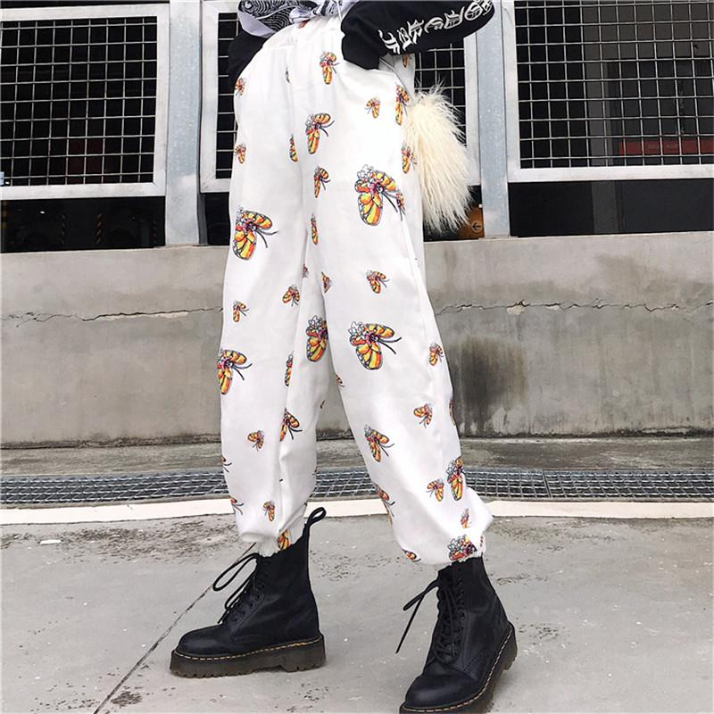 Harajuku Pants For Unisex Butterfly Printing Retro Loose Trouser INS Hispter Casual Women Pants - thefashionique
