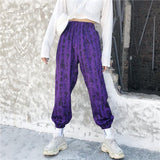Harajuku Pants Women Elastic Waist Fashion Ancient Chinese Characters Printed Loose Calf-Length Pant Black White Purple - thefashionique