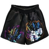 Harajuku Style 2020 Summer New European Elastic Loose Bronzing Glitter Black Casual Shorts Female Wide Leg Loose Shorts