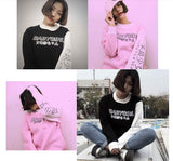 Harajuku Style Women Sweatshirts 2017 New Streetwear Japanese Worlds Printed Long Sleeved Hoodies Casual Pink Black O-neck Tops - thefashionique