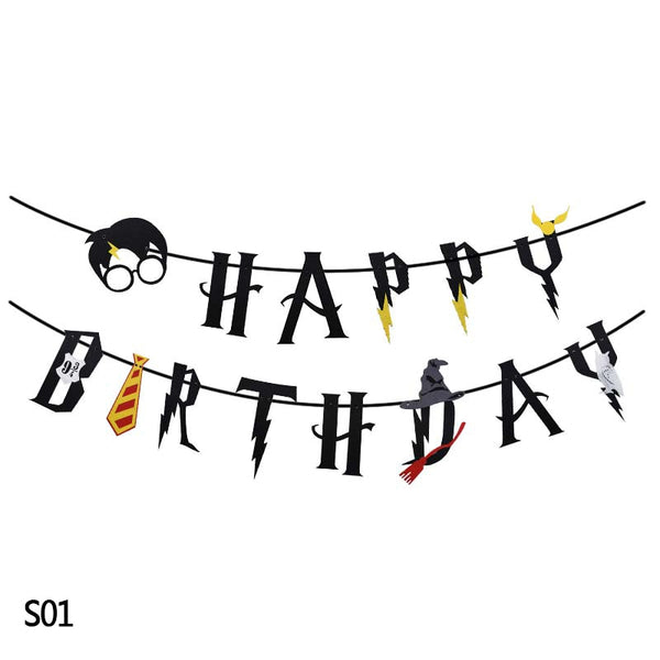 Harry Potter Happy Birthday Garland Cake Topper Latex Balloons for Birthday Party Decoration Hanging Bunting Banner Kids Favors - thefashionique