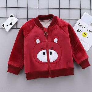 Winter Kid Girls Coat Autumn Warm Woolen Overcoat Cute Bow Cotton (Red)